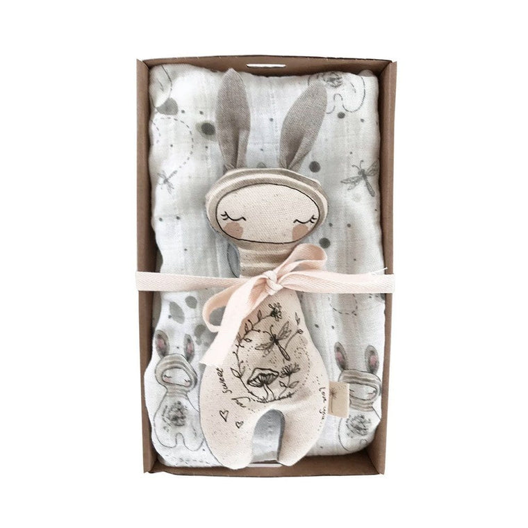 Giftbox Baby Swaddle & Rattle Pack : Bunny