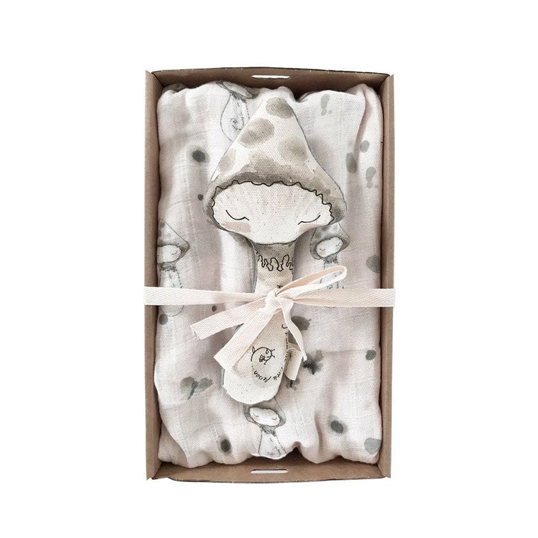 Giftbox Baby Swaddle & Rattle Pack : Mushroom