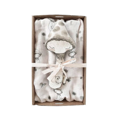 Giftbox Baby Swaddle & Rattle Pack : Mushroom Gift Box These Little Treasures