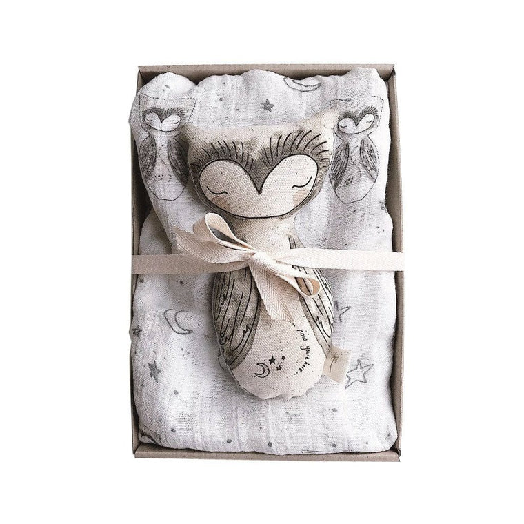 Giftbox Baby Swaddle & Rattle Pack : Owl