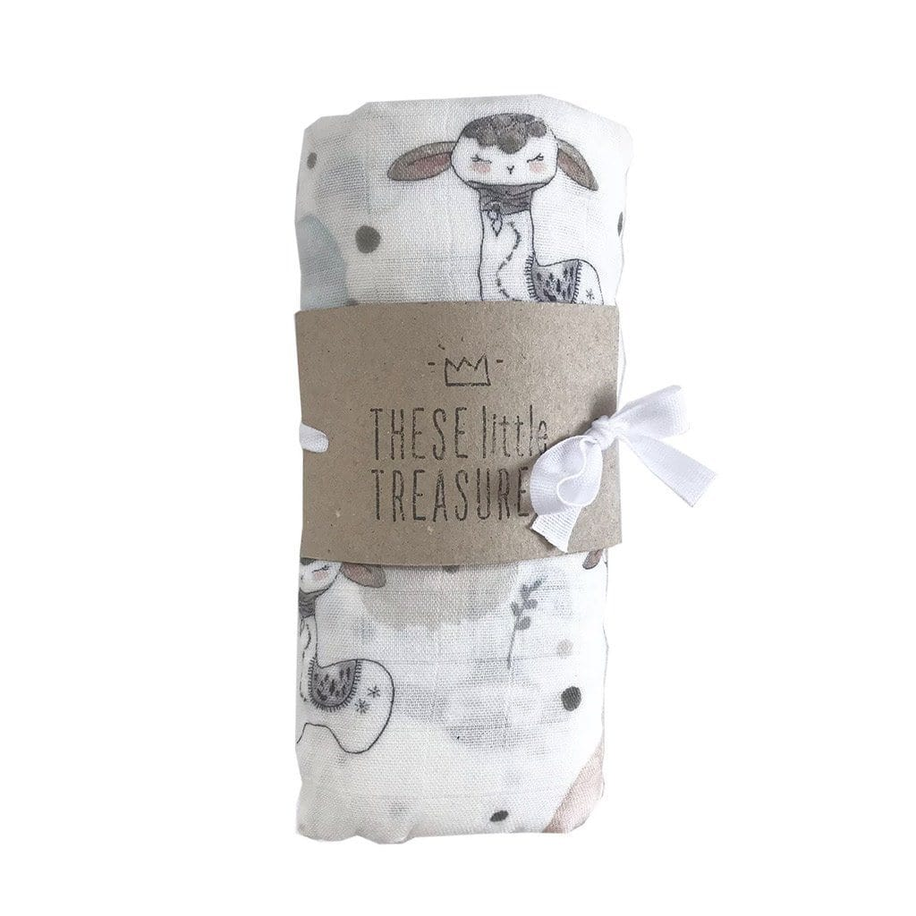 Organic Cotton Baby Swaddle : Llama Wraps These Little Treasures
