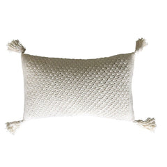 Rose Bud Crochet Cushion Oblong – Off white 30x50cms