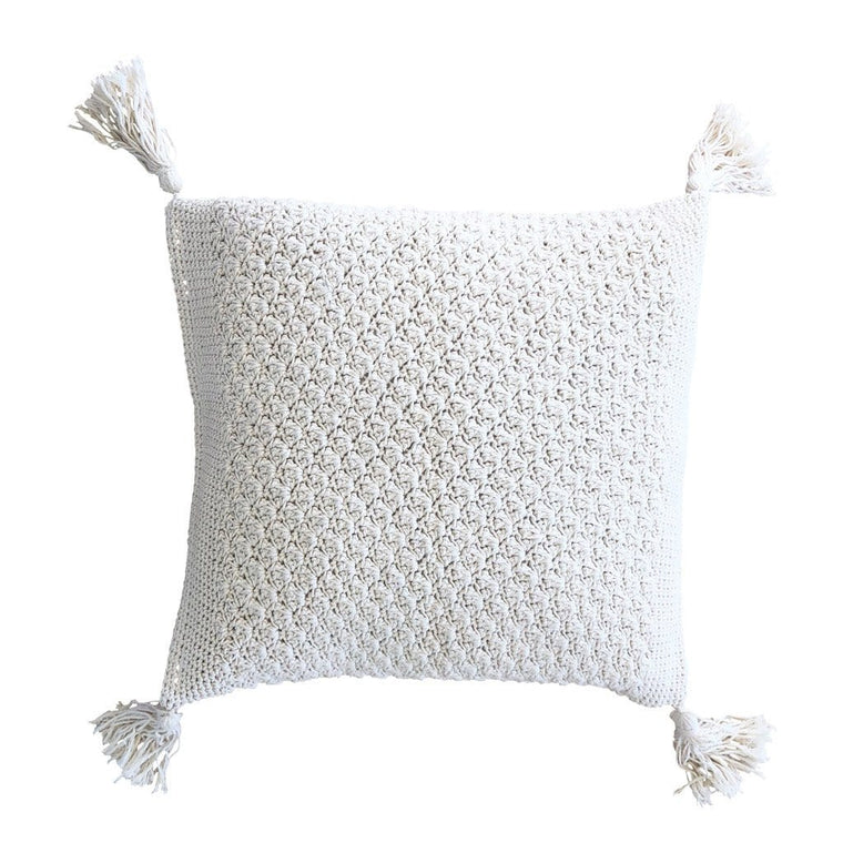 Rose Bud Crochet Cushion Square – Natural