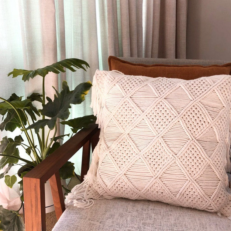 Boho Macrame Cushion – Off White 50cms