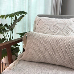 Rose Bud Crochet Cushion Oblong – Off white 30x50cms Homewares Twig & Sparrow