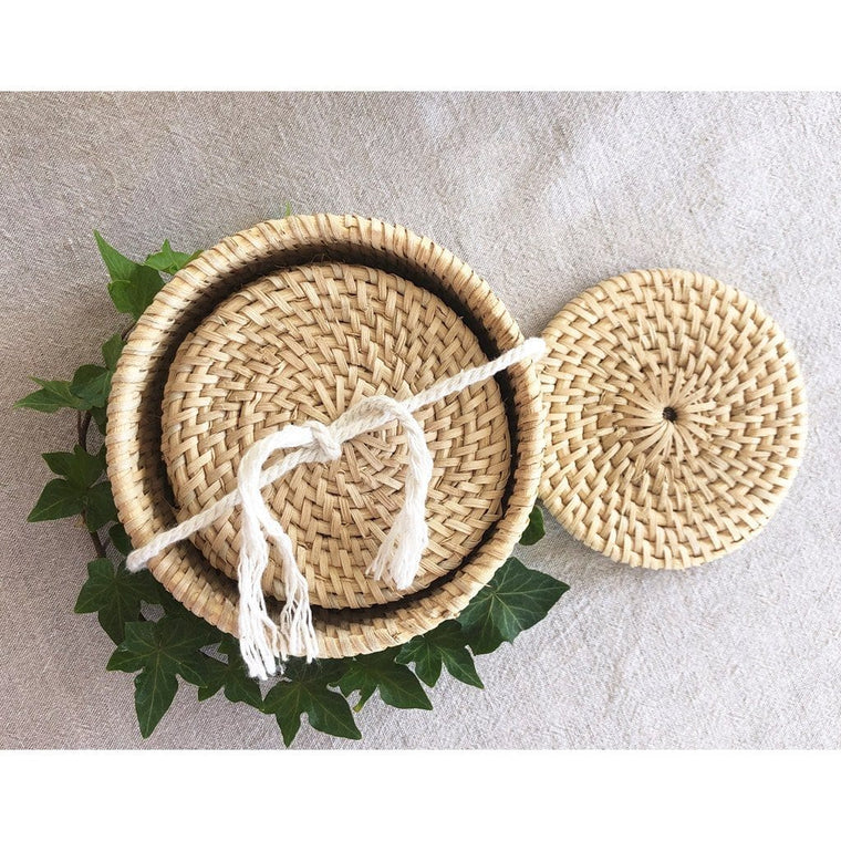 Handmade Rattan Coasters (set of 6) - Natural (uncoated)