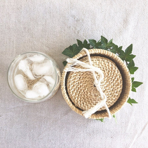 Handmade Rattan Coasters (set of 6) - Natural (uncoated) Dining Twig & Sparrow
