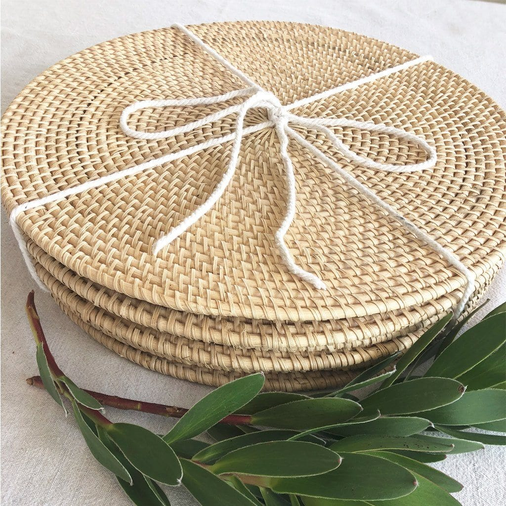 Handmade Rattan Placemats 35cms Set of 6 - Natural (uncoated) Dining Twig & Sparrow