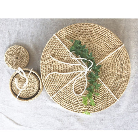 Handmade Rattan Dining Setting - Placemats and Coasters Set of 6 : Natural