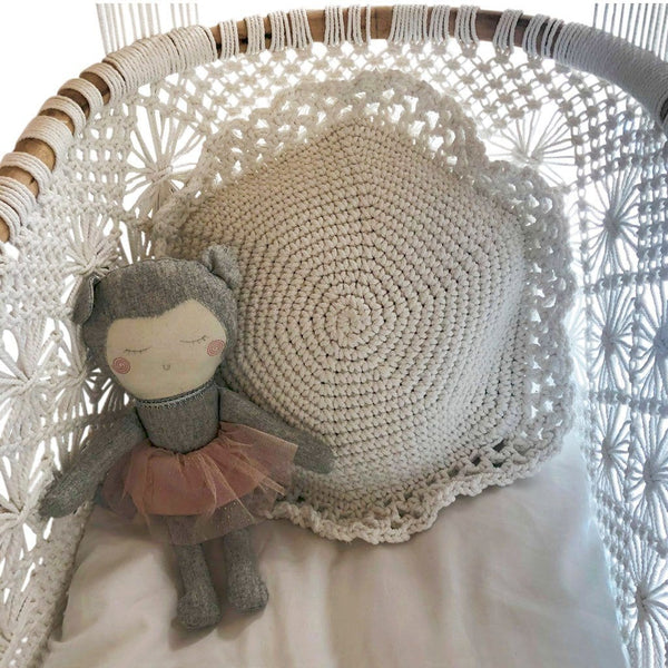 Crochet Cushion Round - Off White Homewares Twig & Sparrow