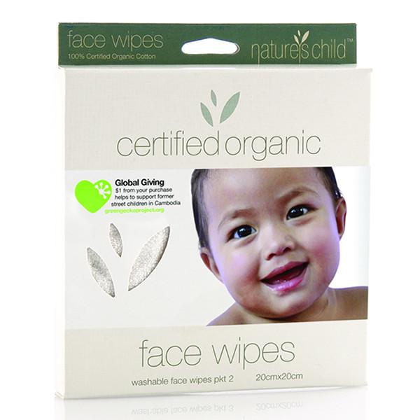 Natures Child Organic Cotton Face Wipes - 2 Pack