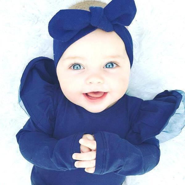 Merino Wool Topknot Headband: Navy Baby Accessory Snuggle Hunny Kids