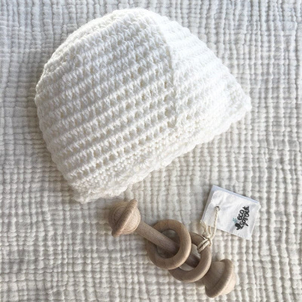 Merino Beanie (Crochet Stitch) : Antique White Baby Accessory Ecosprout 0-3 Mths