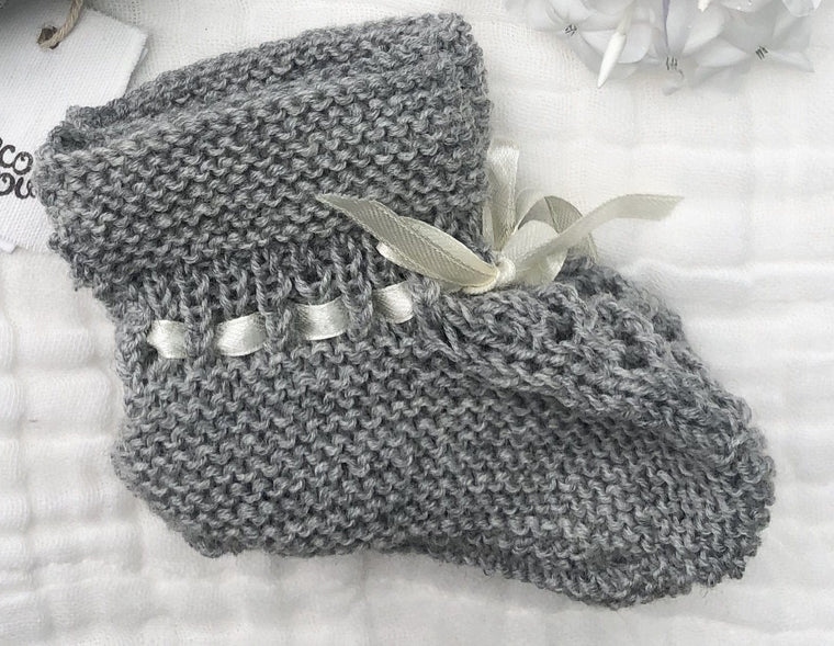 Merino Booties (Vintage Stitch) : Grey Marl