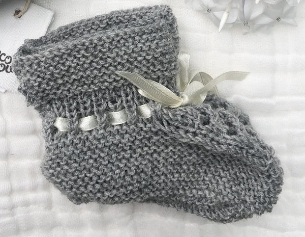 Merino Booties (Vintage Stitch) : Grey Marl Baby Accessory Ecosprout