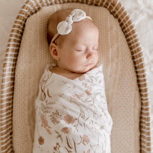 Muslin Bamboo Cotton Wrap : Wild Meadow Pink Petals Wraps Luna's Treasures