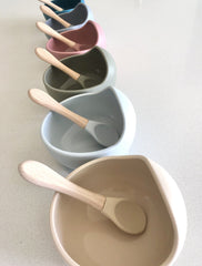 Silicone Bowl and Spoon Set : Grey Feeding and Nursing Ecosprout
