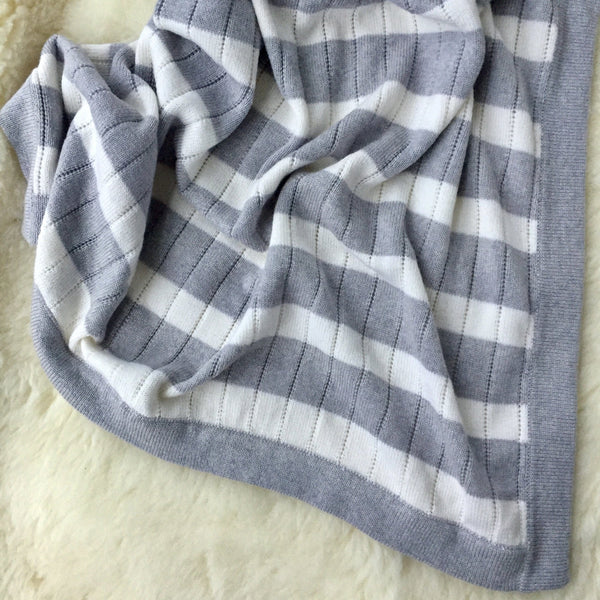 Ecosprout Merino Cot Blanket - Stripe - Ecosprout - New Zealand