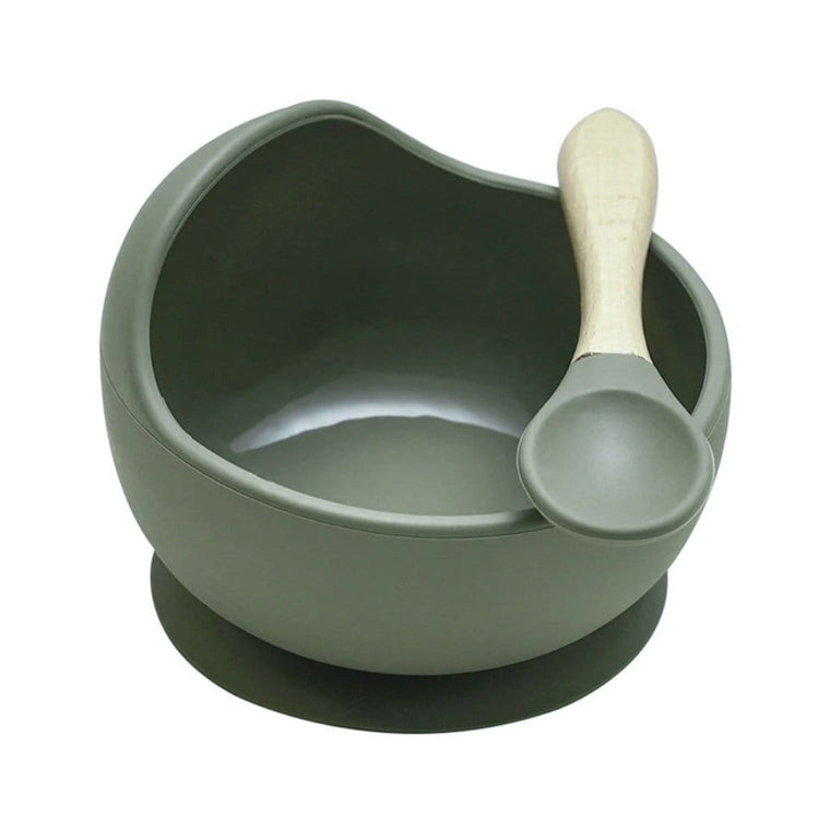 Silicone Bowl and Spoon Set : Olive