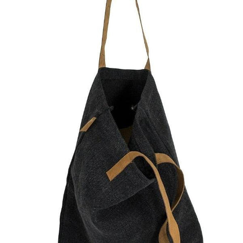 Leather Handle Tote : Black