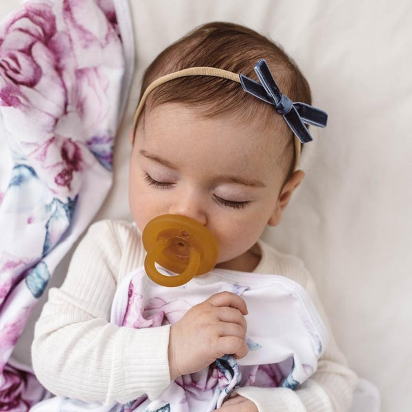 Baby Velvet Bow Petite : Moonlight Blue Baby Accessory Snuggle Hunny Kids