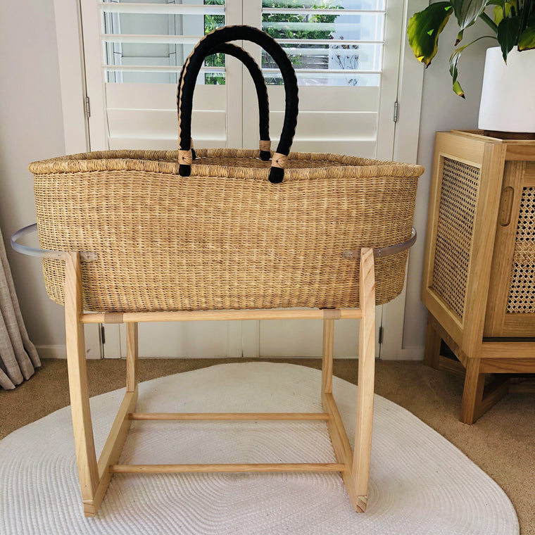 African Moses Basket Rocking Stand : Natural