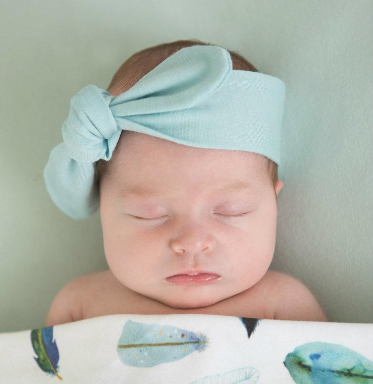 Merino Wool Topknot Headband: Spearmint