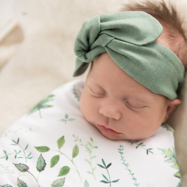 Merino Wool Topknot Headband: Light Olive