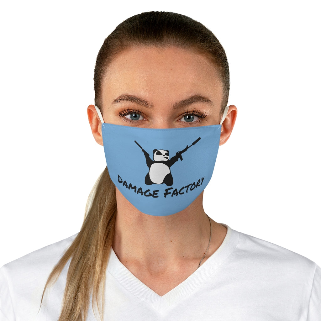 Angry Panda Blue Fabric Face Mask
