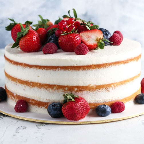 Vanilla Mix Berry Cake - Vanilla Cake Topped With Fresh Fruits.