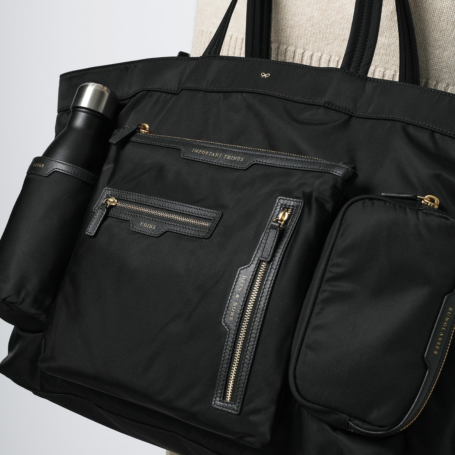 Large Multi-Pocket Nylon Tote