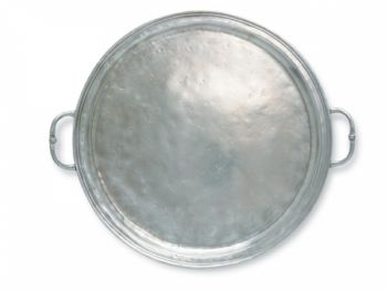 Pewter Small Round Tray with Handles