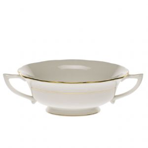 Golden Edge Cream Soup Cup & Stand