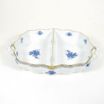 Chinese Bouquet Blue Two-Section Hors D'oeuvre Dish