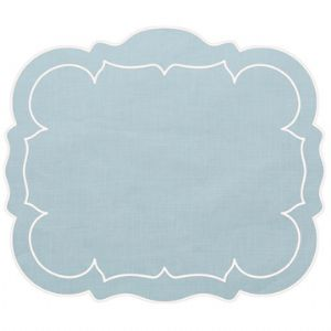Linho Ice Blue Scalloped Rectangular Placemat Set of Two