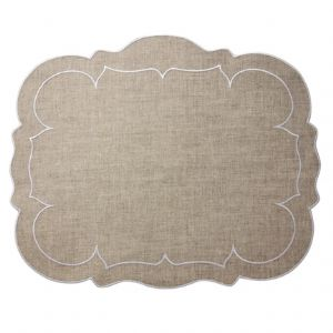 Linho Scallop Rectangular Placemat Natural Set of Two