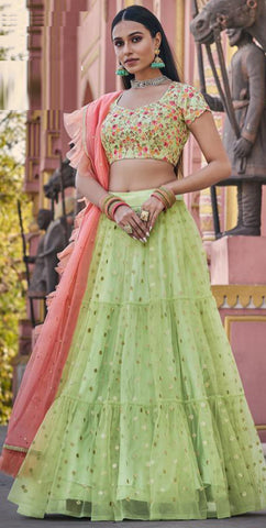Light Green flare net and embroidered silk Lehenga
