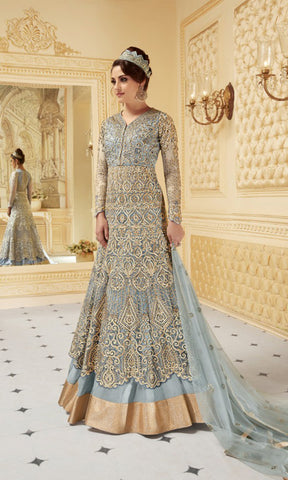 Sky Blue Rani Party wear suits (SEMI STITCHED SUITS)