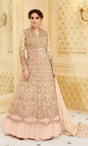 Light Pink Rani Party wear suits (SEMI STITCHED SUITS)