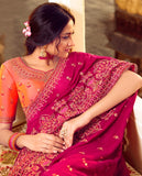 Vichitra Silk Designer Saree (Pink)