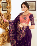 Vichitra Silk Designer Saree (Purple)