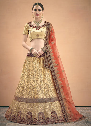 White & Maroon Wedding Lehenga