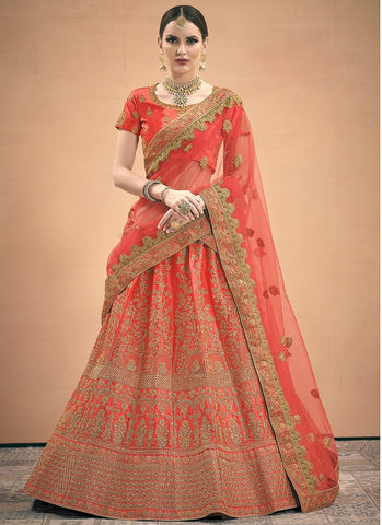 Bright Peach Wedding Lehenga