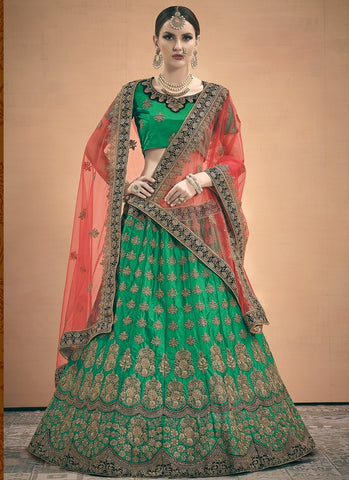 Green Wedding Lehenga