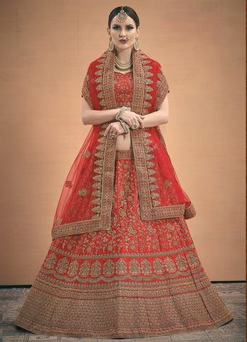 Red Satin Wedding Lehenga