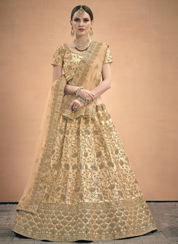 Cream Satin Wedding Lehenga