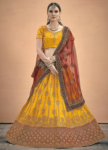 Mustard and Maroon Satin Wedding Lehenga