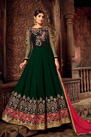 Bottleneck Green Pure Georgette Gown (ANKLE-LENGTH SUITS )