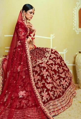RED WEDDING LEHENGAS (SEMI-STITCHED - Pattern 4)