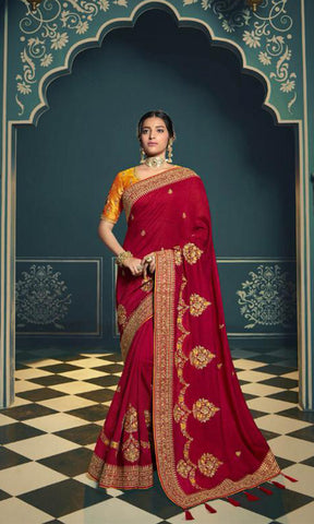 Mustard & Red Silk Embroidered Saree